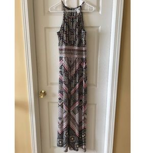 Multi-Colored Patterned Maxi Dress